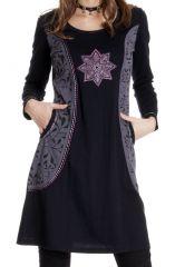 Robe courte à manches longues Ethnique et Brodée Gloria 286799