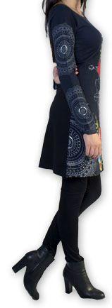 Robe courte à manches longues Ethnique et Chic Coquelico Noire 274394