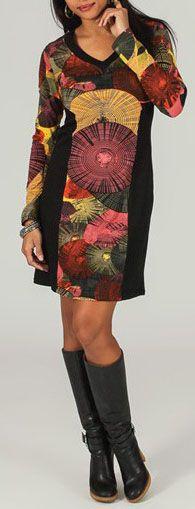 Robe courte à manches longues Ethnique et Colorée Adélia 274133
