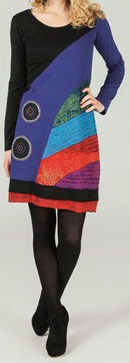 Robe courte à manches longues ethnique et colorée Aliénor 273733