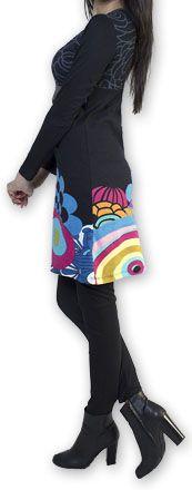 Robe courte à manches longues Ethnique et Colorée Annemone 274335