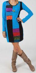 Robe courte à manches longues Ethnique et Colorée Idalina 274821