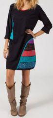 Robe courte à manches longues Ethnique et Colorée Ilaria 274829