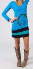 Robe courte à manches longues Ethnique et Colorée Jalya 274841