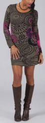 Robe courte à manches longues Ethnique et Colorée Laéna Taupe 274927
