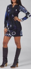 Robe courte à manches longues Ethnique et Colorée Léana Bleue 274958