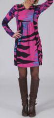 Robe courte à manches longues Ethnique et Colorée Léana Rose 274957