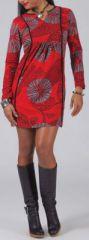 Robe courte à manches longues Ethnique et Colorée Léana Rouge 274959