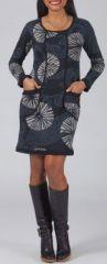 Robe courte à manches longues Ethnique et Colorée Liana Grise 274983