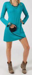 Robe courte à manches longues Ethnique et Colorée Michèle Turquoise 275082