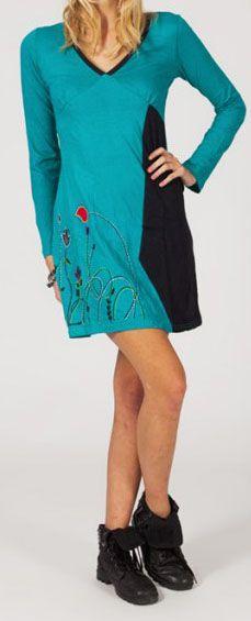 Robe courte à manches longues Ethnique et Colorée Paola 275133
