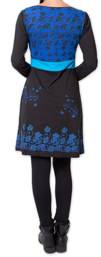 Robe courte à manches longues Ethnique et Colorée Parnaiby Noire 275996