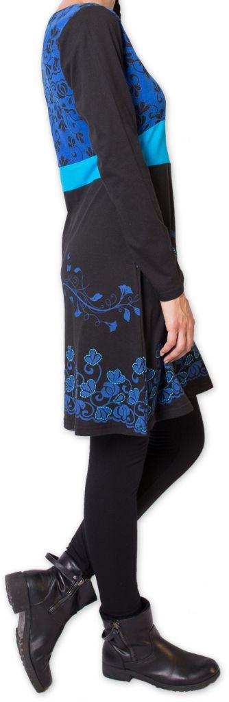 Robe courte à manches longues Ethnique et Colorée Parnaiby Noire 275998