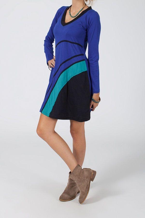 Robe courte à manches longues Ethnique et Colorée Pascaline 318756