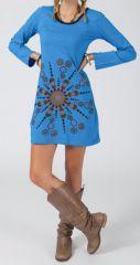 Robe courte à manches longues Ethnique et Colorée Paulina 314856