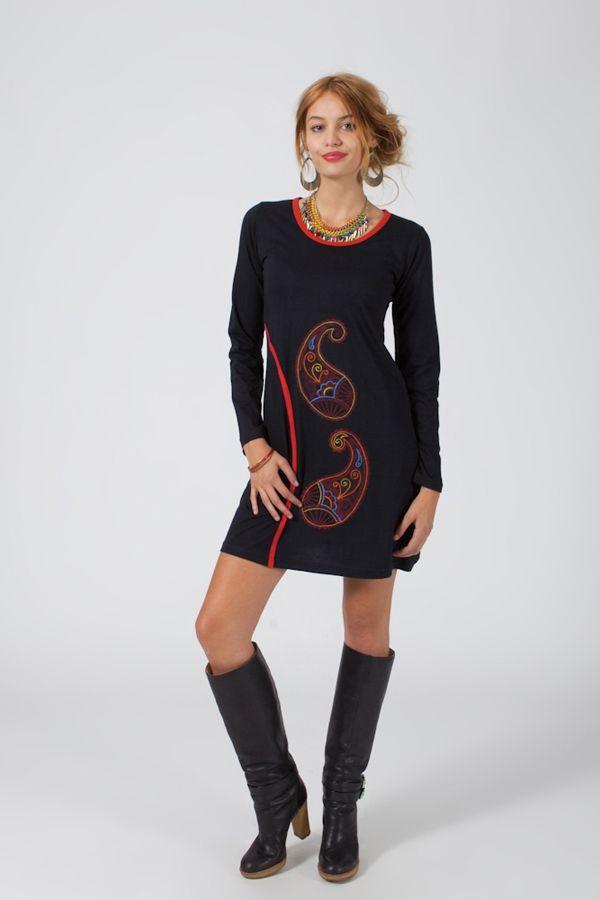Robe courte à manches longues Ethnique et Colorée Rita Noire 318816