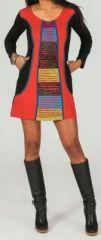 Robe courte à manches longues ethnique et colorée Rouge Alba 273721
