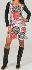 Robe courte à manches longues Ethnique et Colorée Sixtine 274088