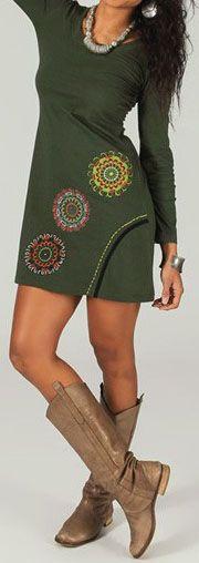 Robe courte à manches longues ethnique et colorée Verte Céliane 273769