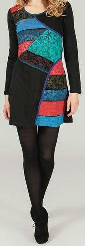 Robe courte à manches longues ethnique et imprimée Noire Alia 273728