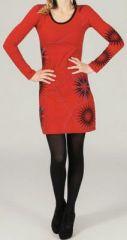 Robe courte à manches longues ethnique et imprimée Rouge Dao 273796