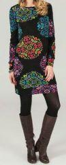 Robe courte à manches longues Ethnique et Imprimée Ysalie 274275