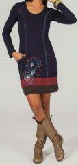 Robe courte à manches longues ethnique et originale Céléna 273775