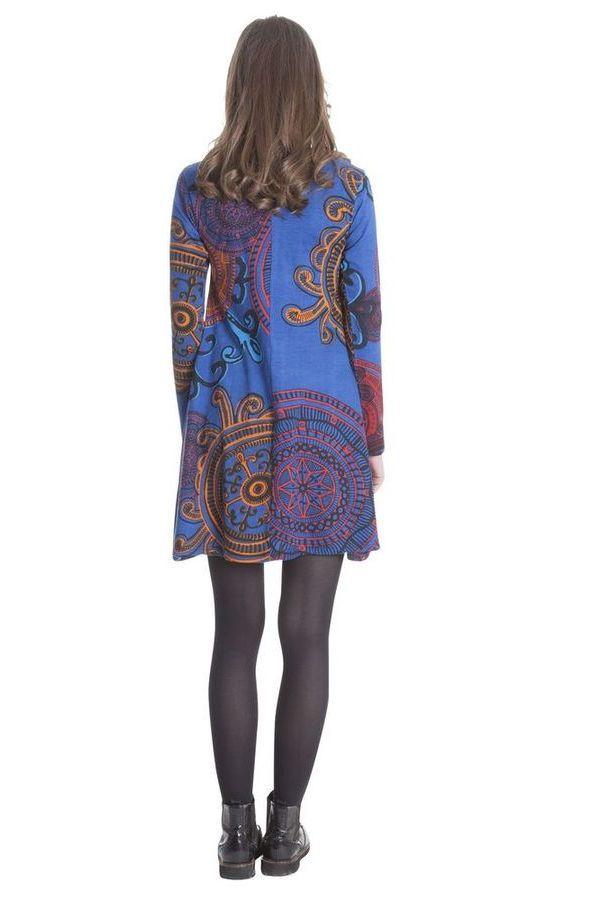Robe courte à manches longues ethnique et originale Danaé 286396