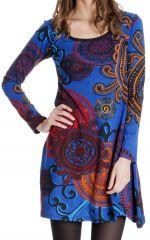 Robe courte à manches longues ethnique et originale Danaé 286654