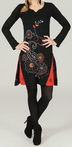 Robe courte à manches longues ethnique et originale Ellyn 273803