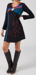 Robe courte à manches longues Ethnique et Originale Janna verte 281128