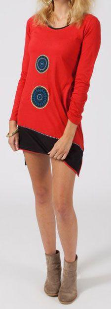 Robe courte à manches longues Ethnique et Originale Mailen Rouge 275059
