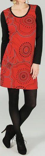 Robe courte à manches longues ethnique et originale Rouge Charlie 273779