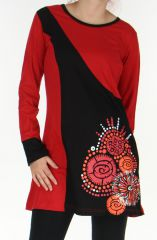 Robe courte à manches longues Ethnique et Pas chère Vanina Rouge 276440