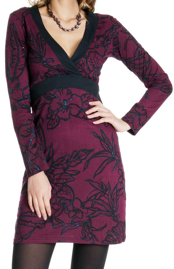 Robe courte à manches longues Ethnique Framboise Bellagia 286625