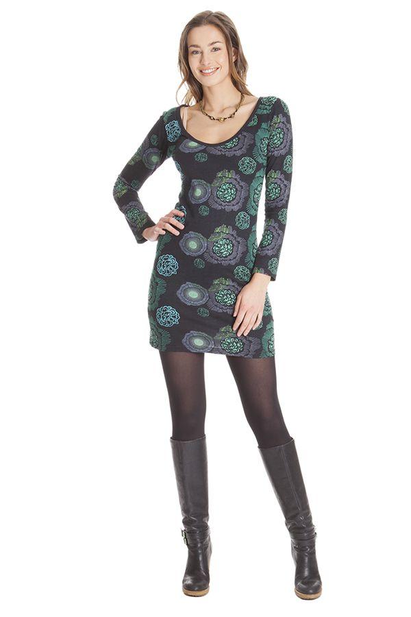 Robe courte à manches longues Ethnique Graziella Noire 285439