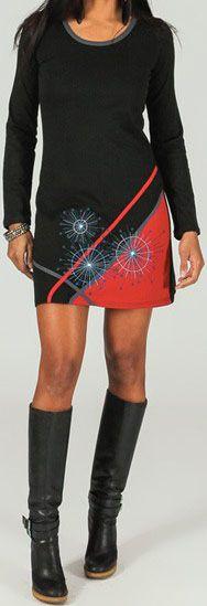 Robe courte à manches longues Imprimée Noire Adélie 273664