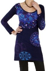 Robe courte à manches longues Indigo Ethnique et Imprimée Graziella 286629