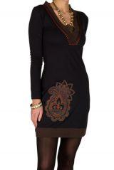 Robe courte à manches longues Noire brodée avec col en V Alix 301065