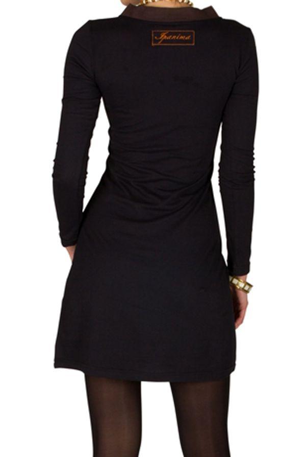 Robe courte à manches longues Noire brodée avec col en V Alix 301067