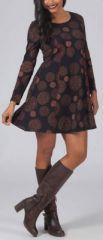 Robe courte à manches longues noire et marron Jaksy