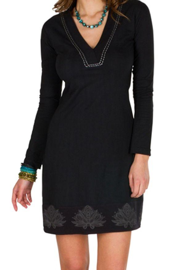 Robe courte à manches longues Noire fleur de lotus avec col V Evelina 301119