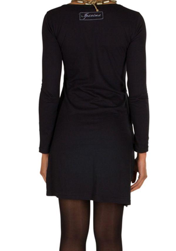Robe courte à manches longues Noire imprimée avec poches et col rond Emy 301194
