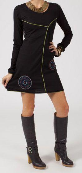 Robe courte à manches longues Noire originale Emna