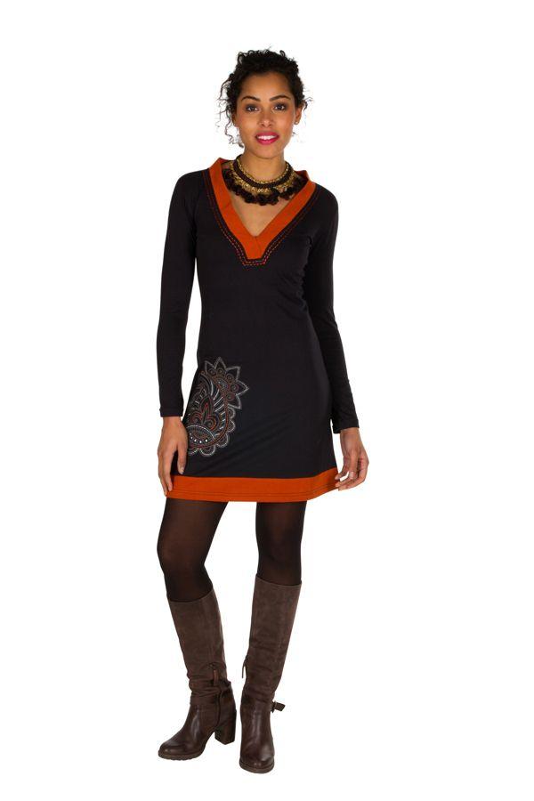 Robe courte à manches longues Orange col en V et imprimée Céleste 301102