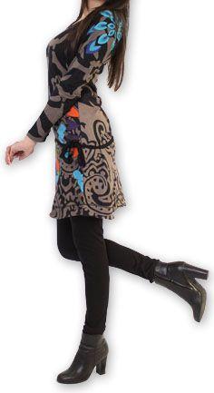 Robe courte à manches longues Originale et Colorée Jacynthe Grise 274435