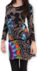 Robe courte à manches longues Originale et Colorée Jacynthe Grise 274436