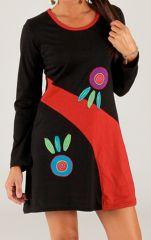 Robe courte à manches longues originale et colorée Lamba 314998