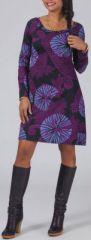 Robe courte à manches longues Originale et Colorée Lésia Violette 274973
