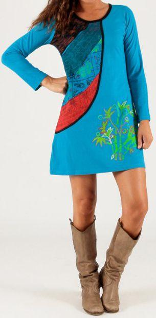 Robe courte à manches longues Originale et Colorée Minorque Bleue 279702